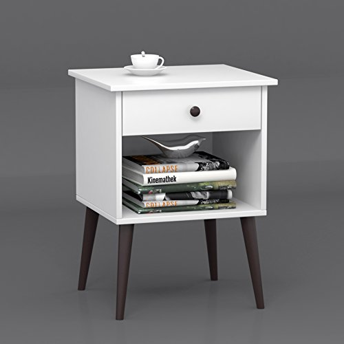 White / Espresso Nightstand Side End Table Open Storage