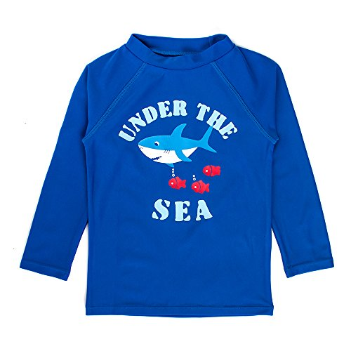 Estamico Toddler Boys Long Sleeve Rashguard Shirts Sunsuit Swimwear Navy 2T