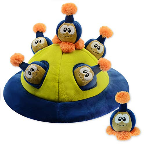 Interactive Squeaky Hide and Seek Dog and Puppy Toy: CHAWZ from CHEWTOPIA Hide An Alien UFO Spaceship, Strong and Durable Puzzle Plush. BEST new pet game! (appx.18