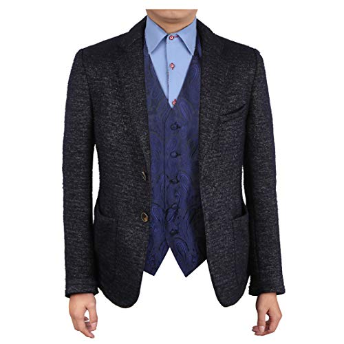 (Epoint EGC1B03C-M Dark Blue Patterned Wholesale For Bridegrooms Waistcoat Woven Microfiber Mens Style Medium Vest)