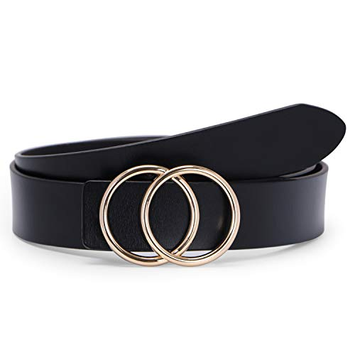 (Black Women Leather Belt with Gold Double O-Ring Buckle,SUOSDEY Fashion Designer Belts for Women)