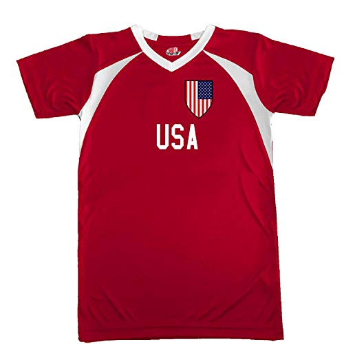 Customized USA Soccer Jersey Adult Large in Scarlet Red and White
