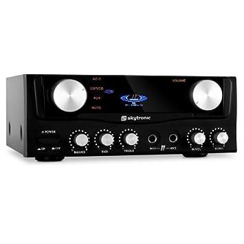 Skytronic Amplificador HiFi 2 entradas micrófono. 400 W