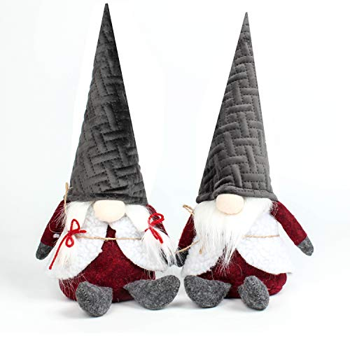 Costyleen Handmade Swedish Tomte Scandinavian Christmas Santa Gnome Plush Home Ornaments Table Decor Festival Decoration Xmas Gifts 2pc - Gray Hat 12 inches