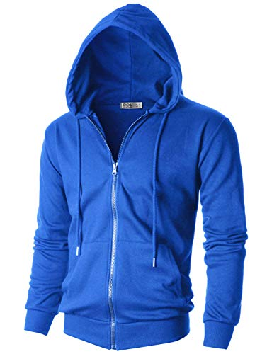 - OHOO Mens Slim Fit Long Sleeve Lightweight One-Tone Zip-up Hoodie with Kanga Pocket/DCF102-BLUE-L