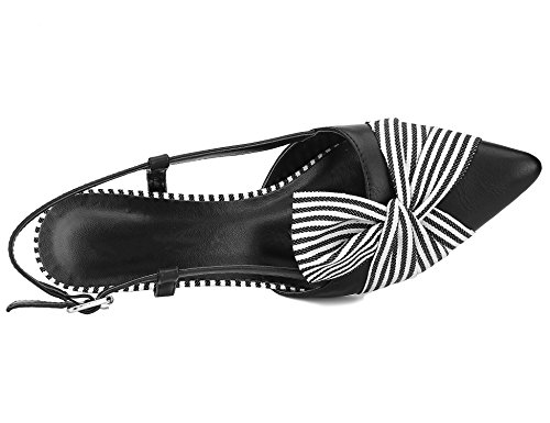 Greatonu Kitten Comfortable Women Heels Dress Shoes Tie Stripe Slingback Black Bow Pumps With qrZqRFxw