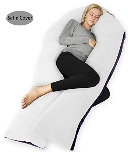QUEEN ROSE Pregnancy Body Pillow-U Shaped Maternity Pillow for Pregnant Women,with Satin Cover