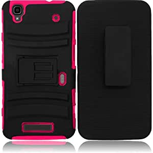 Black Pink Rhino Holster Hybrid Gel Case Cover for ZTE Max + Keychain Tool