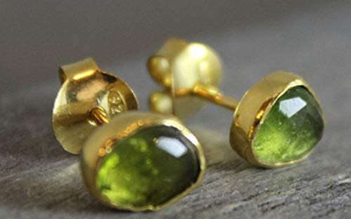Free Form Green Tourmaline Gold Plated Sterling Silver Stud Earrings ()