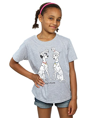 Disney Girls 101 Dalmatians Classic Pongo and Perdita T-Shirt 12-13 Years Sport Grey