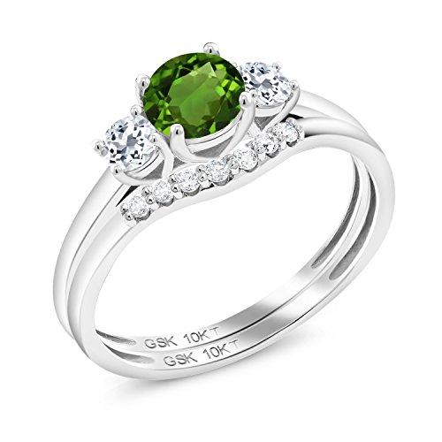(0.85 Ct Round Green Chrome Diopside White Topaz 10K White Gold Lab Grown Diamond Ring (Size)