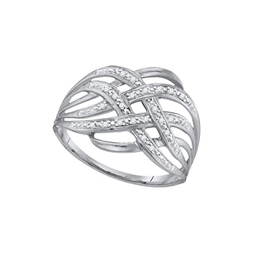 Sonia Jewels Size 6.5-10k White Gold Round Diamond Woven Cockail Band Ring 1/20 Cttw