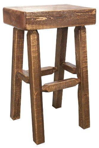 Montana Woodworks Homestead Collection Half Log Barstool, Stain and Lacquer Finish