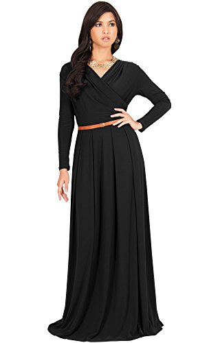 KOH KOH Petite Womens Long V-Neck Sleeve Sleeves Fall Formal Flowy Floor Length Evening Casual Day Modest Abaya Muslim Gown Gowns Maxi Dress Dresses, Black S 4-6
