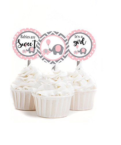 Little Peanut Baby Shower Cupcake Toppers - Yellow, Pink or Blue - Assembled Set of 12