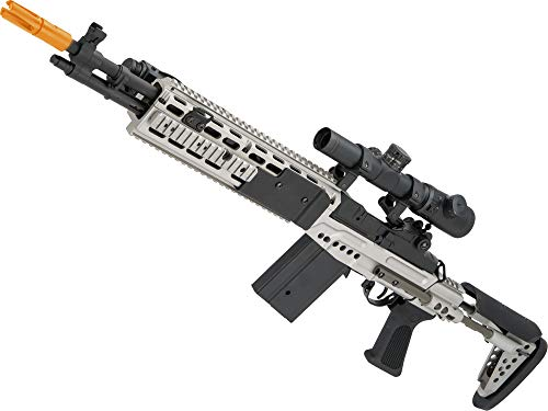 Evike CYMA Full Metal M14 EBR Designated Marksman Rifle Airsoft AEG (Color: Silver/EBR Stock) (Best Airsoft M14 Ebr)