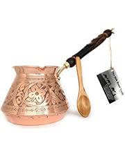 The Silk Road Trade - ACI Series (XX-Large) - Thickest Solid Hammered and Engraved Copper Turkish Greek Arabic Coffee Pot with Wooden Handle / Stovetop Coffee Maker,Jazzve,Cezve,Ibrik,Briki (29 fl oz)