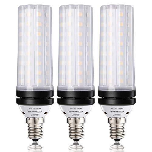 - E12 Dimmable LED Corn Bulbs,12W LED Candelabra Light Bulbs 100 Watt Equivalent, 1000lm, Soft White 3000K LED Chandelier Bulbs, Decorative Candle Base LED Lamp, Pack of 3