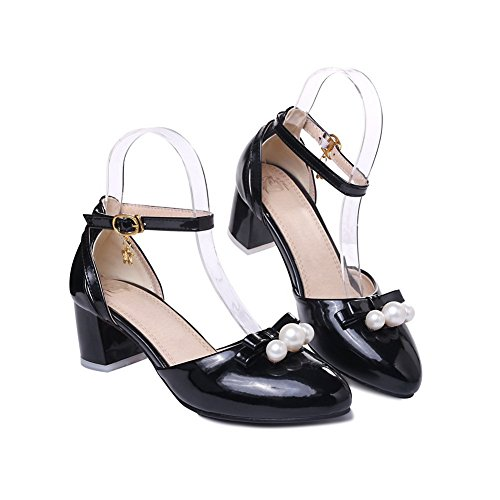 BalaMasa Womens Bead Comfort Patent Leather Sandals Black 9aOGo