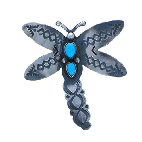 Sterling Silver 925 Sleeping Beauty Dragonfly Pin Pin by Navajo Artistian Jewelry