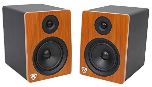 "Rockville APM5C 5.25"" 2-Way 250W Active/Powered USB Studio Monitor Speakers Pair, Cherrywood ("