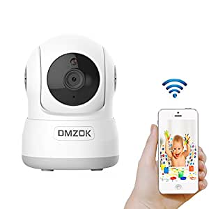 DMZOK Wireless WiFi Security Camera, Home Surveillance Camera with Pan Tilt Zoom Night Vision Two Way Audio Motion Detection Baby Camera Monitor Nanny Cam