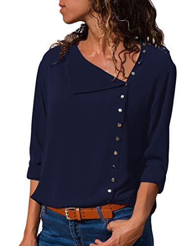 BETTE BOUTIK Womens Button-Up Shirts Daily Slanted Cardigans with Lapel Dark Blue XX-Large