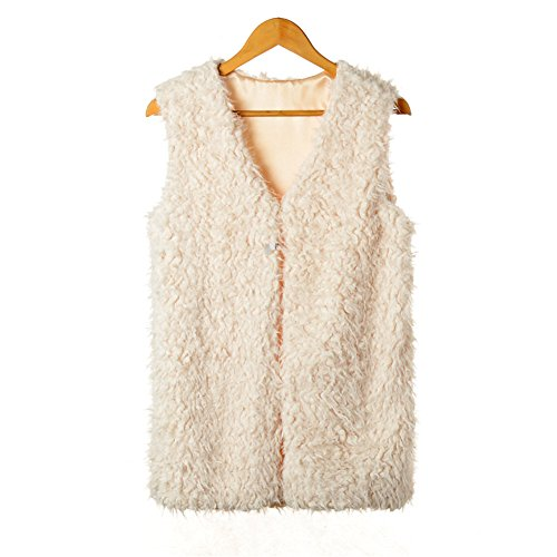 Dikoaina Medium Length Front Open Shearling Sherpa Faux Fur Vest