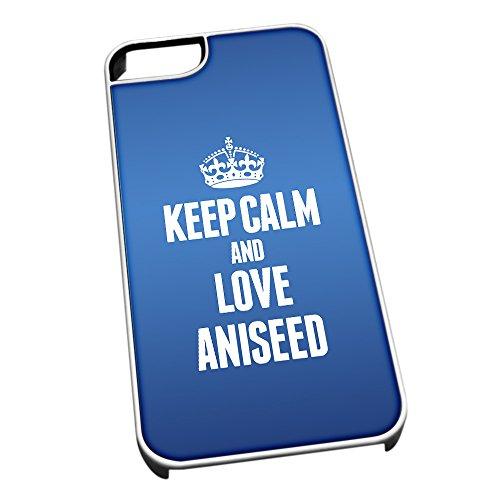 Bianco Cover per iPhone 5/5S 0770Blu Keep Calm And Love Anice