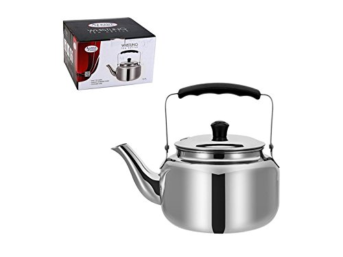 Large 2.7 Liter Alpine Cuisine Polished Mirror-Finish Stainless Steel Whistling Capsule Base Stovetop Teakettle Tea Kettle Teapot, Gas Electric Induction Compatible (Tea Harmonic Kettle)