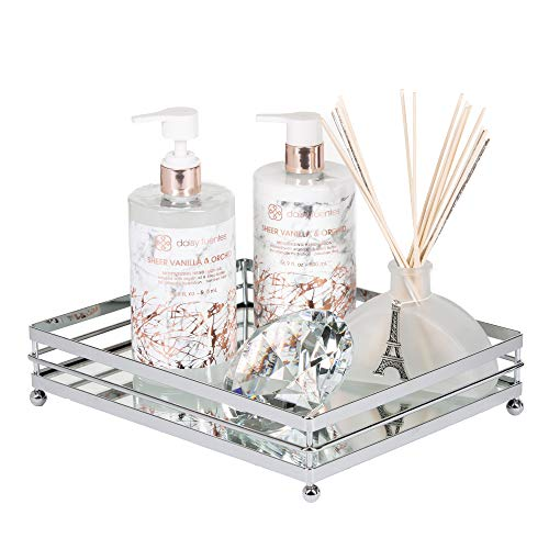 (Vnesse Decorative Mirror Tray Mirror Perfume Glass Vanity Jewelry Serving Tray Silver Classic Accessories for Dresser and Bathroom 10.6 inches x 8.6 inches )