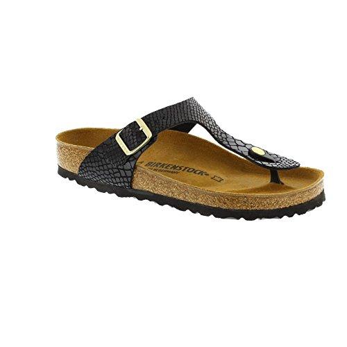 Birkenstock Gizeh - Shiny Snake Black 1004274 (Man-Made) Womens Sandals 39 EU - Birkenstock Gizeh Women 39