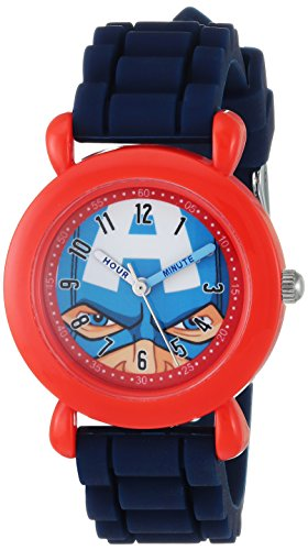Marvel Boy's 'Avenger' Quartz Plastic and Silicone Casual Watch, Color:Blue (Model: WMA000240)