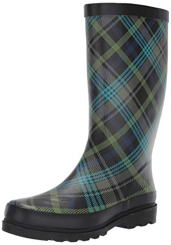 Sugar Women's Raffle Printed Rain Boot, Black Scottish Plaid, 10 Medium US