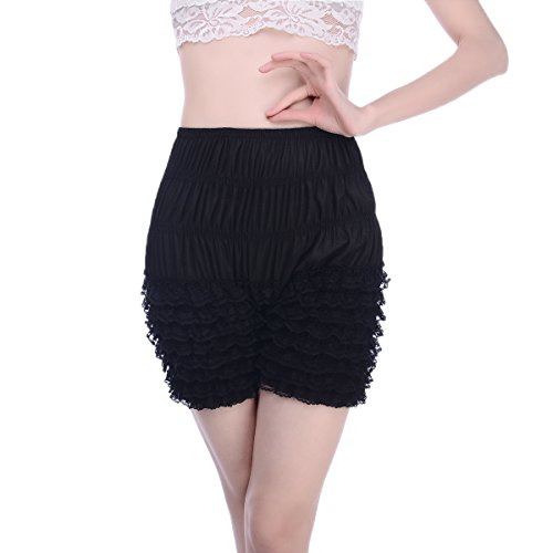 Womens Ruffle Panties Sexy Dance Bloomers Lace Sissy Pettipants Booty Shorts (Black, L) -