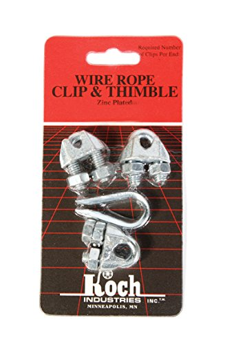 Koch Industries 143121 Wire Rope Clip and Thimble Pack with 3-Clips, 1/8-Inch, ()