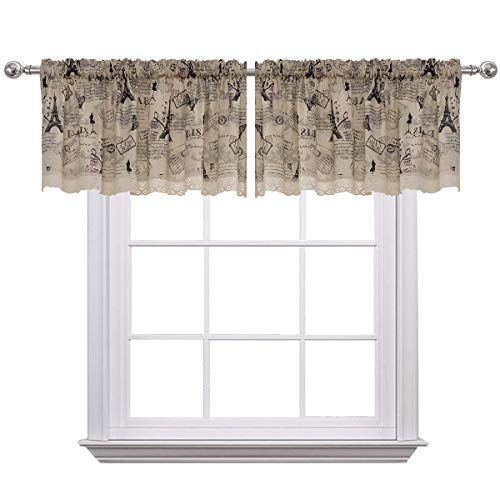 Curtain Valances for Windows Christmas Eiffel Tower Print Cotton Blend Rod Pocket Window Valance for Living Room 52 x 18 inches Set of 2 Beige