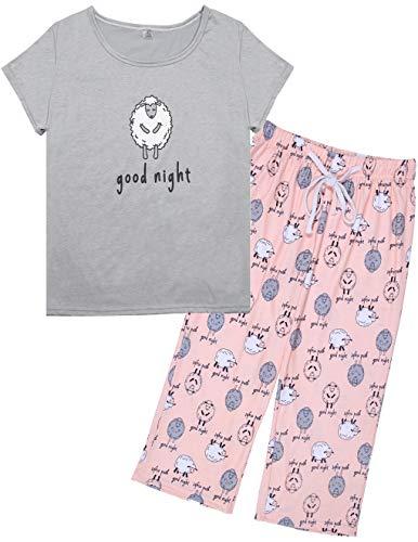 2 Piece Capri Pajama Set - HONG HUI Women's Capri Pajama Sets Plus Size Sleepwear 2 Piece Ladies Sleep Set