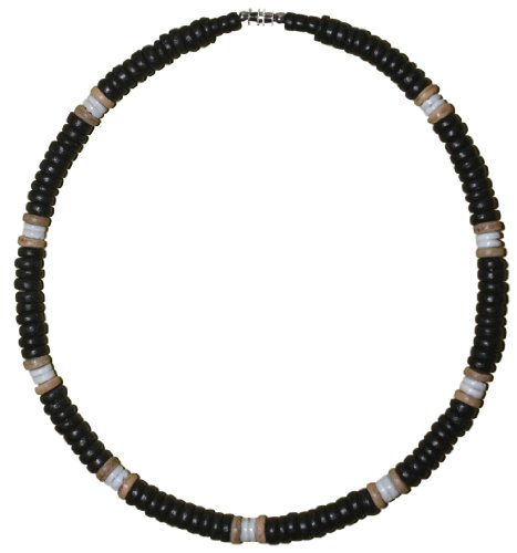 Native Treasure 20 inch Men's Black Coco White Shell Surfer Necklace Puka Choker - 8mm (5/16