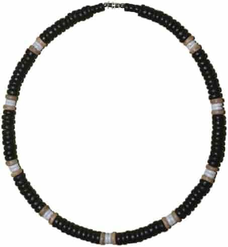219d5450e4acb3 Native Treasure Black Coco White Shell Surfer Necklace Puka Choker - 8mm  (5/16