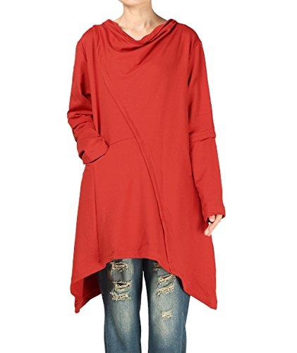Mordenmiss Women's Pile Collar Sweatshirt Twill Asymmetry Baggy Midi Dress Pullover L Orange Red