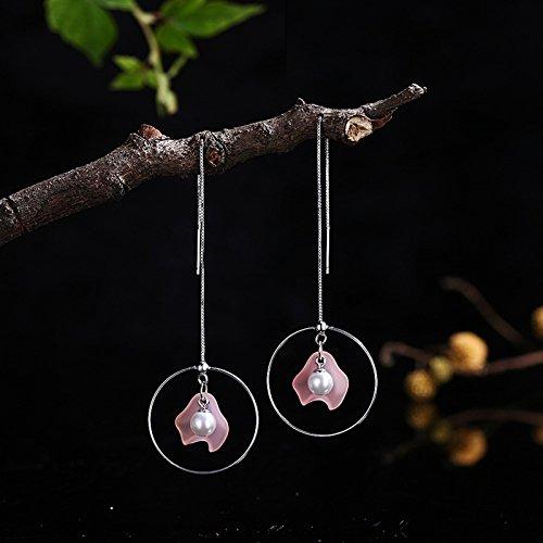 AieniD Frauen Ohrringe Sterling Silber Fallen Ohrringe für Damen Perle Windmühle Anhänger Pink rUj5tJgk3O