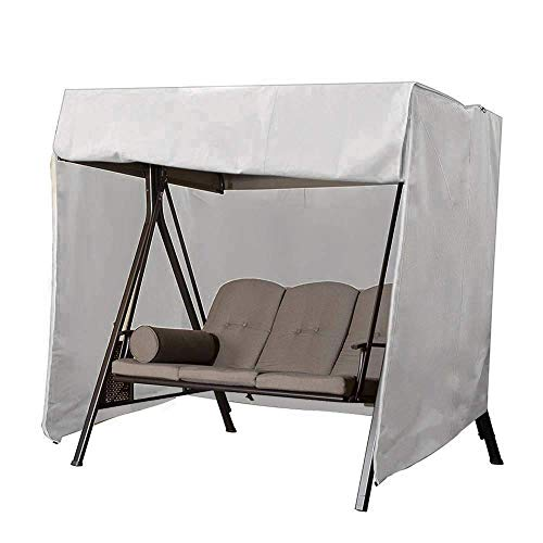 QEES Patio Swing Cover, Heavy Duty 3 Triple Seater Hammock Glider Cover, Glider Canopy Cover, Porch Swing Cover, Patio Furniture Cover Waterproof JJZ151 (Beige 1) (Grey) (3 Patio Swing Seater)