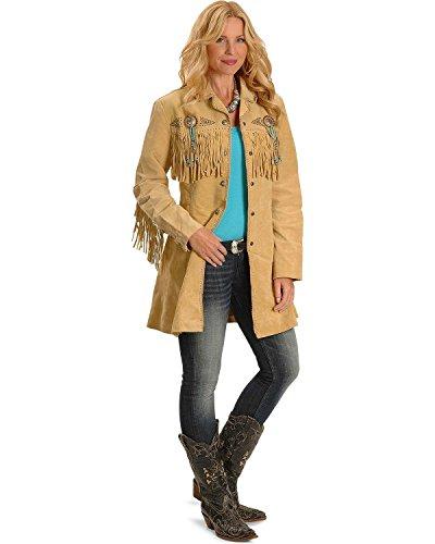 Scully Women's Beaded Fringe Coat Tan X-Large (Beaded Coat)