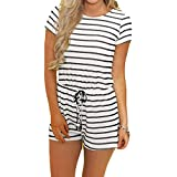 Artfish Women's Summer Striped Jumpsuit Casual Loose Short Sleeve Jumpsuit Rompers (XL, 01White Striped)