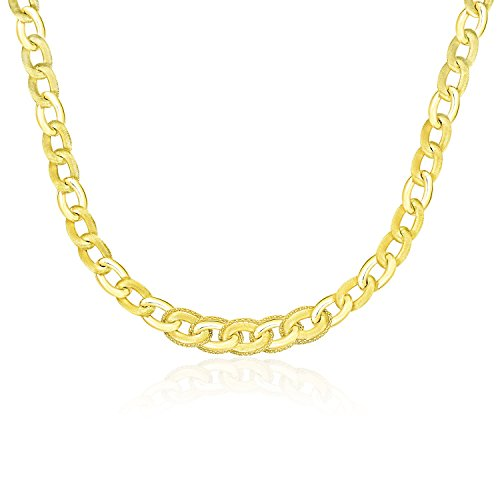 14K Yellow Gold Oval Link Necklace with Popcorn Style Trim by Jewels By Lux