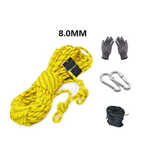 5m Climbing Rope - Outdoor Climbing Rope Lifeline Rescue Rope Climbing Equipment Rope Static Rope wear Rope Safety Rope(Yellow) Diameter:8mm