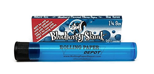 Skunk Brand 1 1/4 Blueberry Flavored Rolling Papers (1 Pack) with Rolling Paper Depot Doobtube (Rolling Skunk Papers)