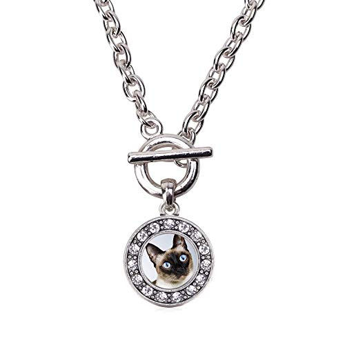 Inspired Silver - Siamese Cat Toggle Charm Necklace for Women - Silver Circle Charm 18 Inch Necklace with Cubic Zirconia Jewelry ()