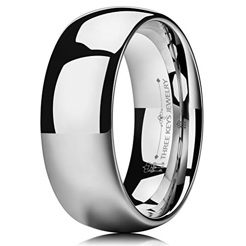 (THREE KEYS JEWELRY 8mm Men's Wedding Ring White Tungsten Carbide Wedding Band Engagement Ring Silver Polished Dome Size 8.5)